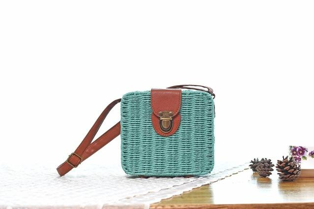 Shoulder Bags Lake blue Candy Color Shoulder Bag Hand Made Straw Bags Woven Flap Pastoral Style Rattan Bag