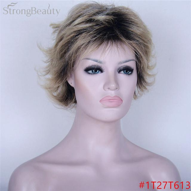 Muli Color Short Body Wave Wig Ombre Black to Blonde Wigs Synthetic Hair