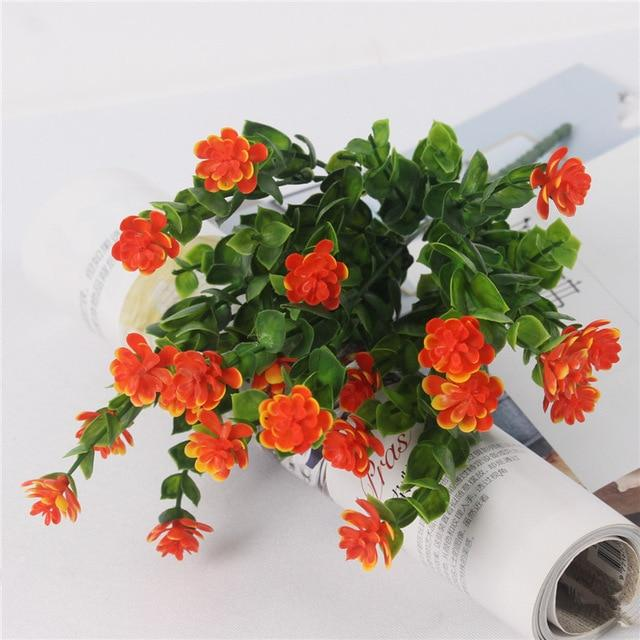 Artificial & Dried Flowers Lotus Plastic Flower With Eucalyptus Leaves Orange