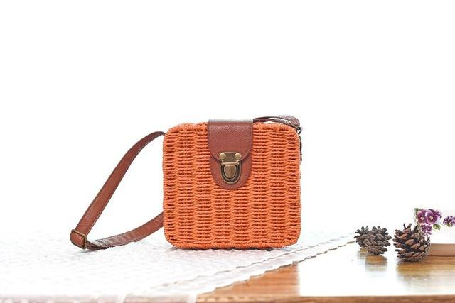 Shoulder Bags Orange Candy Color Shoulder Bag Hand Made Straw Bags Woven Flap Pastoral Style Rattan Bag