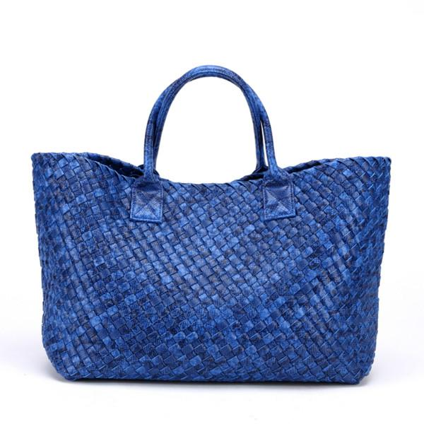 Top-Handle Bags Woven Synthetic Leather Handbag Large Tote Bucket bag Royal Blue / (30cm<Max Length<50cm)