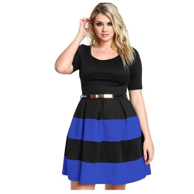 Short Sleeve A Line Stripes Detail Belted Plus Size Skater Dress