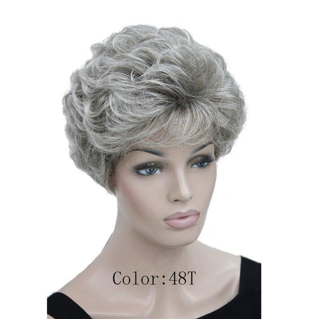 Synthetic None-Lace Wigs Silver Grey Fluffy Curly Short Synthetic Hair Wig