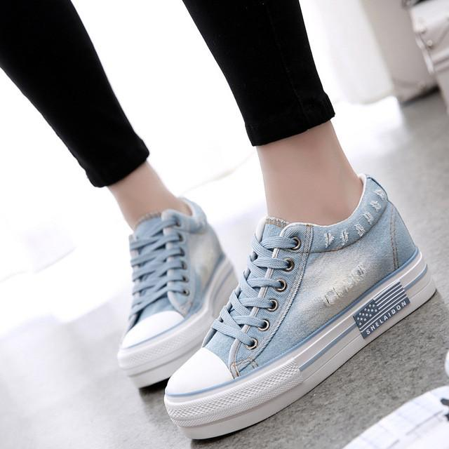 Canvas Shoes Lace Up Casual Denim Tennis  Shoes Ladies Platform Sky Blue / 4