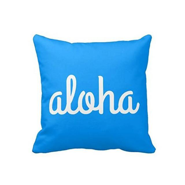 Cushion Cover 14x14 Inch / Style 1 Aloha Pillow Cover for Living Room