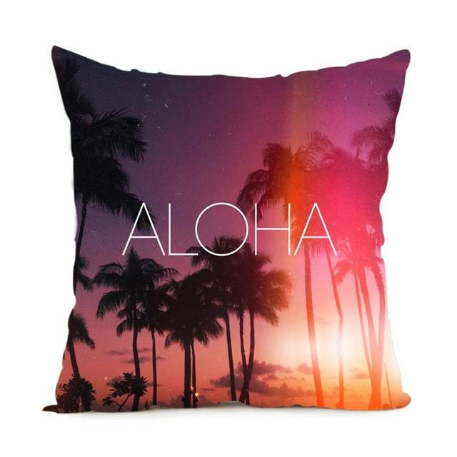Cushion Cover 14x14 Inch / Style 2 Aloha Pillow Cover for Living Room