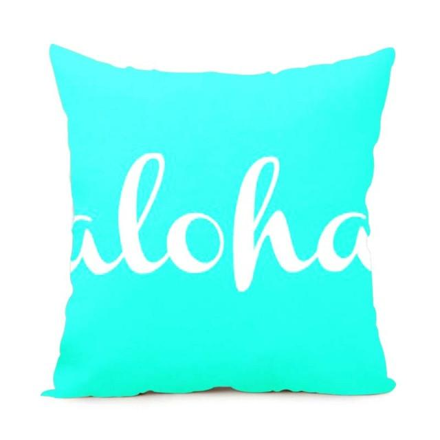 Cushion Cover 14x14 Inch / Style 3 Aloha Pillow Cover for Living Room