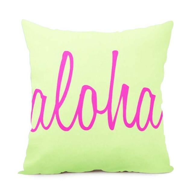 Cushion Cover 14x14 Inch / Style 5 Aloha Pillow Cover for Living Room
