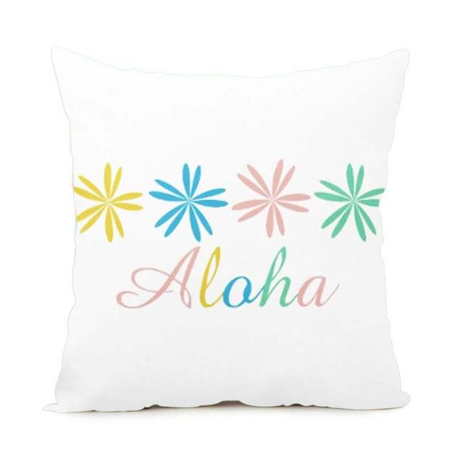 Cushion Cover 14x14 Inch / Style 6 Aloha Pillow Cover for Living Room