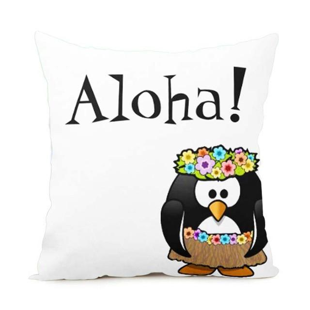 Cushion Cover 14x14 Inch / Style 7 Aloha Pillow Cover for Living Room