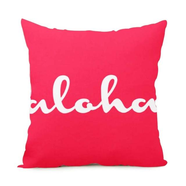 Cushion Cover 14x14 Inch / Style 8 Aloha Pillow Cover for Living Room