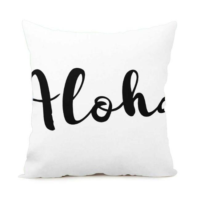 Cushion Cover 14x14 Inch / Style 9 Aloha Pillow Cover for Living Room