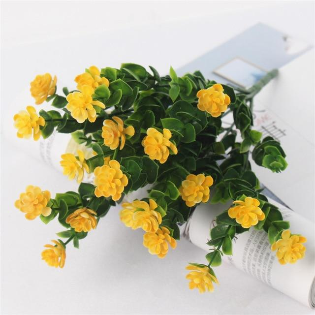 Artificial & Dried Flowers Lotus Plastic Flower With Eucalyptus Leaves Yellow