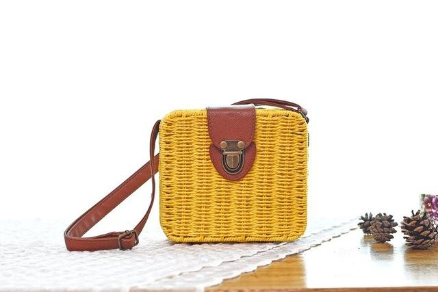 Shoulder Bags Yellow Candy Color Shoulder Bag Hand Made Straw Bags Woven Flap Pastoral Style Rattan Bag