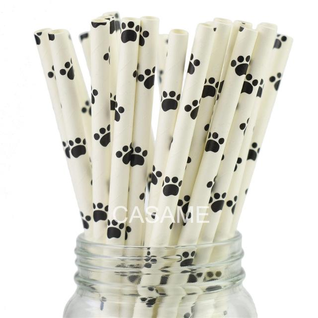 25pcs Paper Drinking Straw Black Theme Party Straws