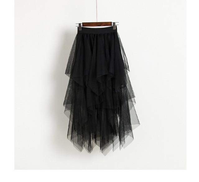 black High Waist Long Tulle Skirt Women Irregular Hem Mesh Tutu Skirt