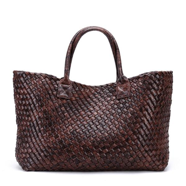 Top-Handle Bags Woven Synthetic Leather Handbag Large Tote Bucket bag bronze / (30cm<Max Length<50cm)