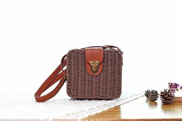 Shoulder Bags dark coffee Candy Color Shoulder Bag Hand Made Straw Bags Woven Flap Pastoral Style Rattan Bag