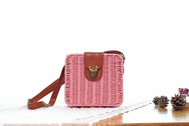 Shoulder Bags dark pink Candy Color Shoulder Bag Hand Made Straw Bags Woven Flap Pastoral Style Rattan Bag