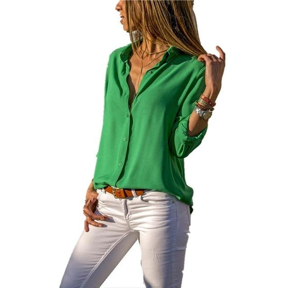Blouses & Shirts Elegant Long Sleeve Solid V-Neck Chiffon Blouse green / S