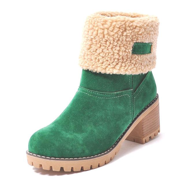 Ankle Boots green / 4 Ladies  Snow Boots  Thick Bottom Platform Waterproof Ankle Boots
