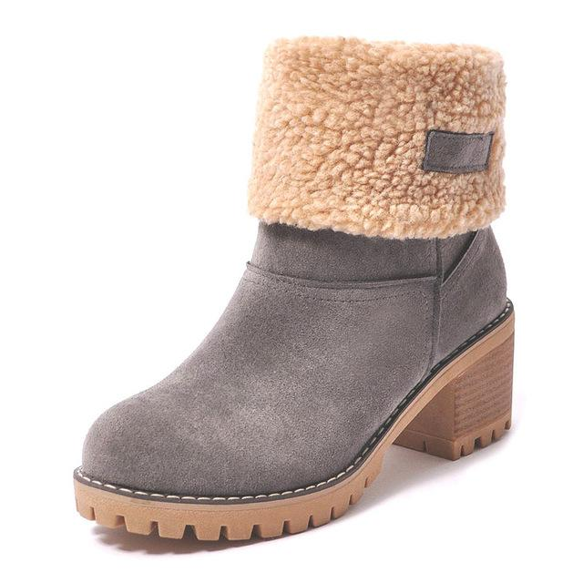 Ankle Boots grey / 4 Ladies  Snow Boots  Thick Bottom Platform Waterproof Ankle Boots