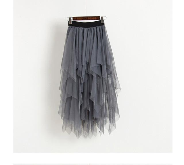 grey High Waist Long Tulle Skirt Women Irregular Hem Mesh Tutu Skirt
