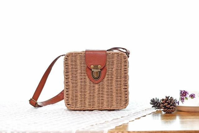 Shoulder Bags light coffee Candy Color Shoulder Bag Hand Made Straw Bags Woven Flap Pastoral Style Rattan Bag