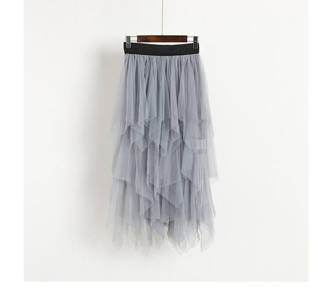 light grey High Waist Long Tulle Skirt Women Irregular Hem Mesh Tutu Skirt