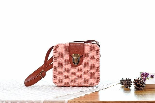 Shoulder Bags light pink Candy Color Shoulder Bag Hand Made Straw Bags Woven Flap Pastoral Style Rattan Bag