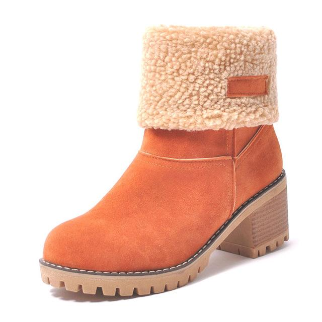 Ankle Boots orange / 4 Ladies  Snow Boots  Thick Bottom Platform Waterproof Ankle Boots