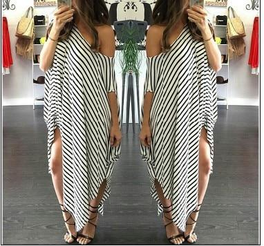 Dresses Irregular Striped  Off Shoulder  Beach Dress picture striped / M