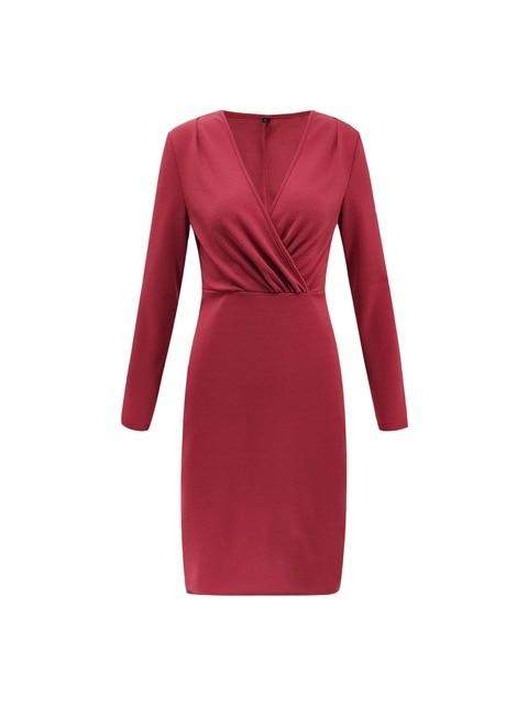 Dresses red / S Bodycon Dresses Deep V Neck Sexy Dress Club Wear