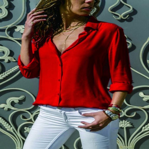 Blouses & Shirts Elegant Long Sleeve Solid V-Neck Chiffon Blouse red / S