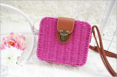 Shoulder Bags rose red Candy Color Shoulder Bag Hand Made Straw Bags Woven Flap Pastoral Style Rattan Bag