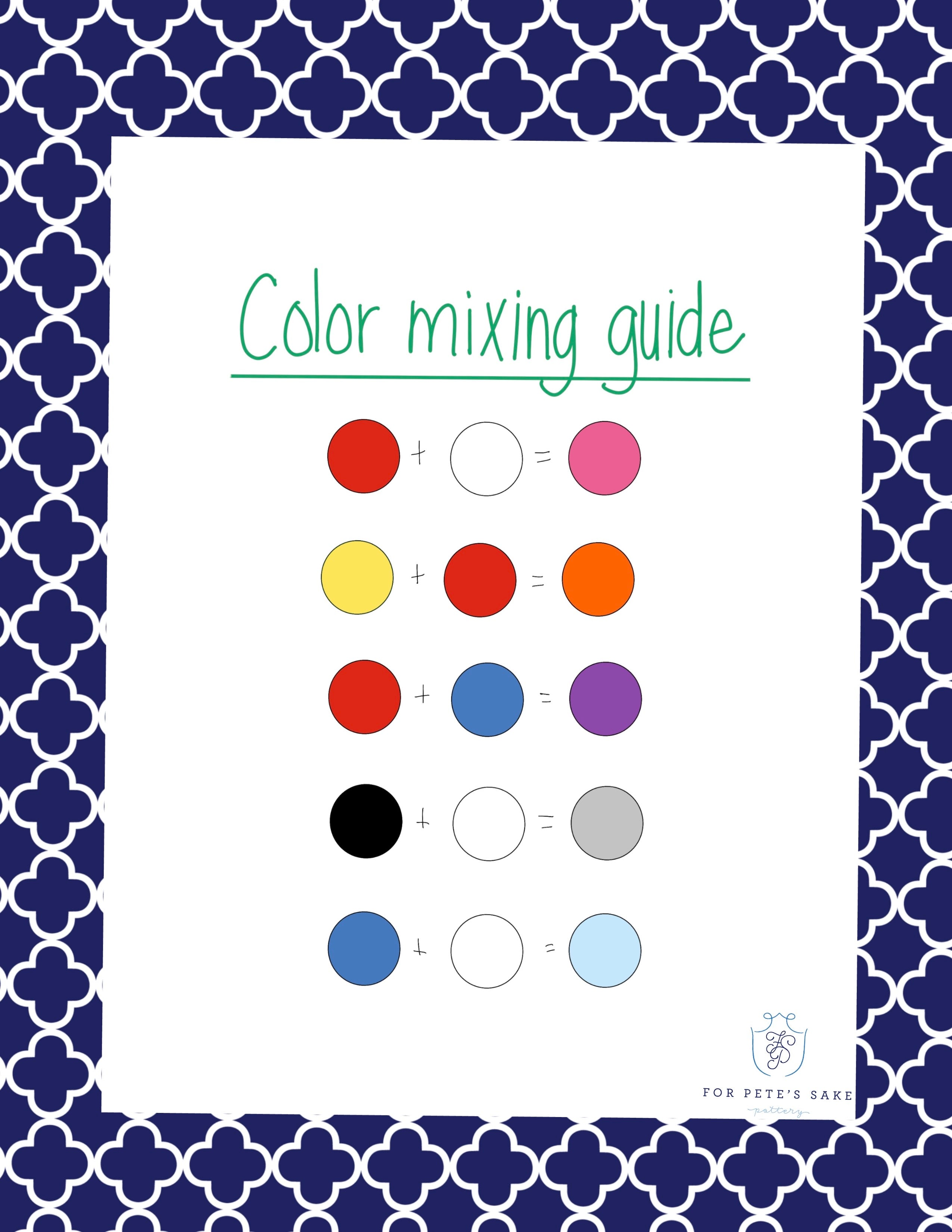 For Pete's Sake Pottery Color Mixing Guide