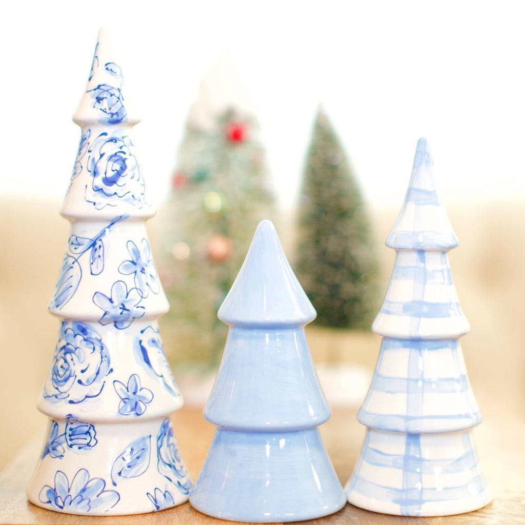 Set of Blue and White Christmas Trees