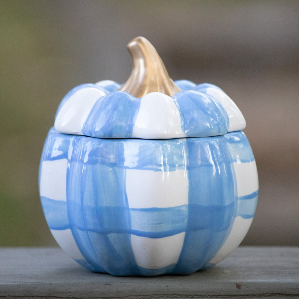 Gingham Pumpkin Jar