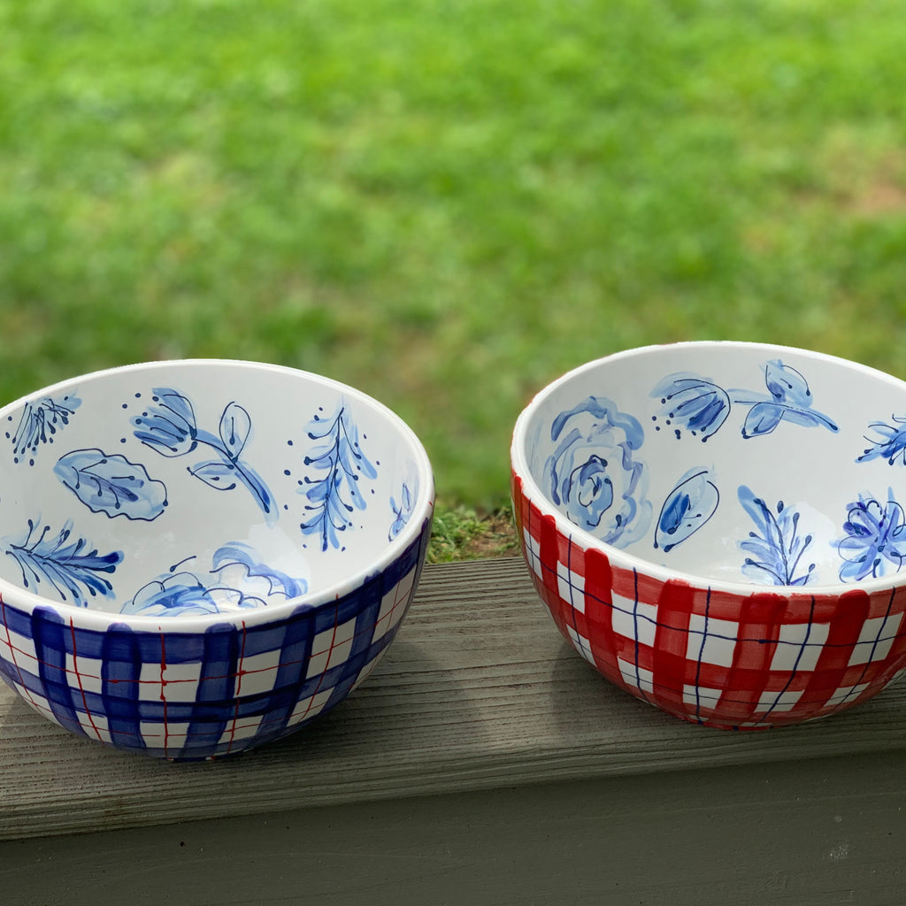 Navy Plaid and Red Plaid Cereal Bowls with a floral pattern