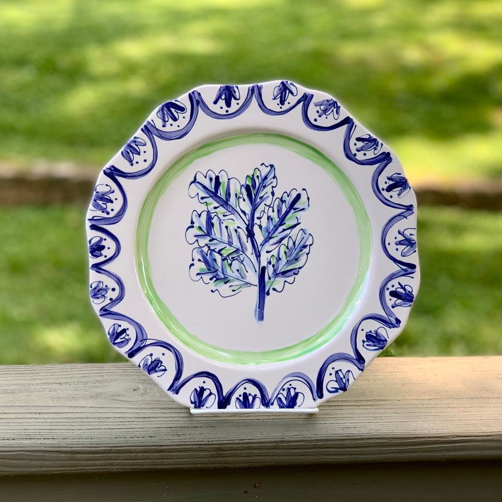 Blue and Green Botanical Print Ruffle Plate