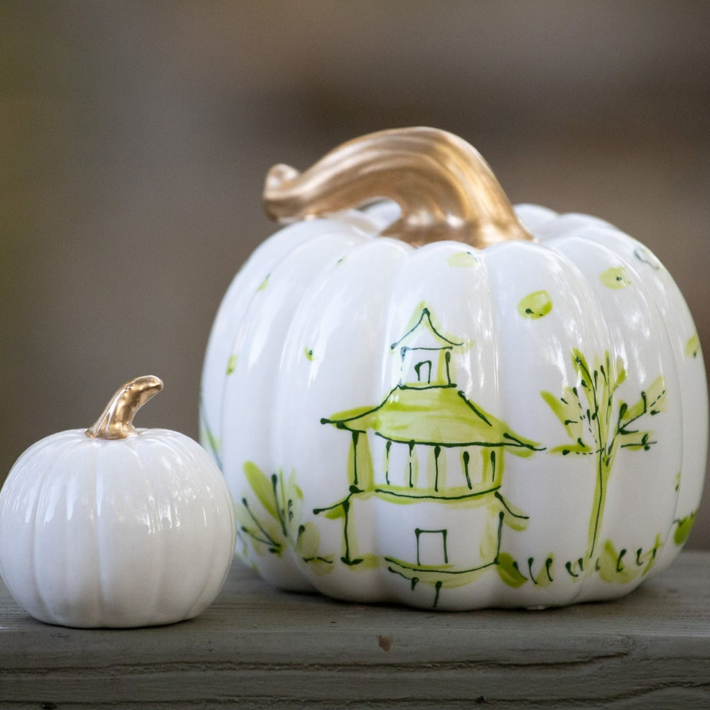 One of a Kind Green and White Pumpkin Set