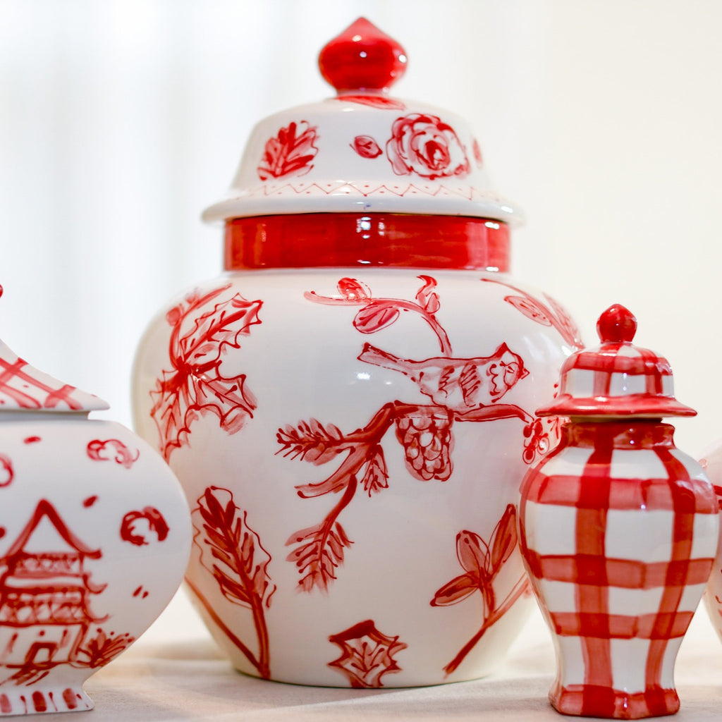 Large Red And White Emma Ginger Jar