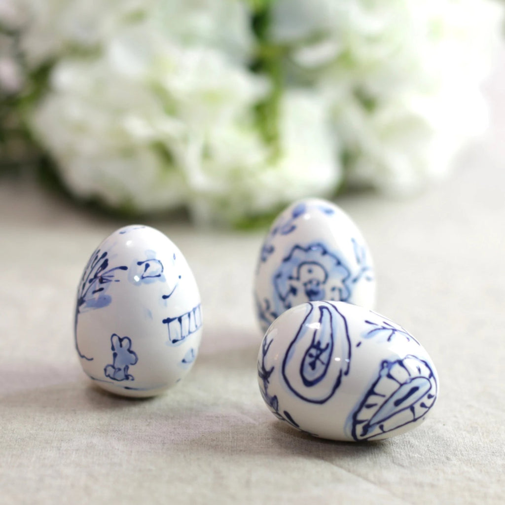Set of 3 Blue and White Floral Pattern Ceramic Eggs