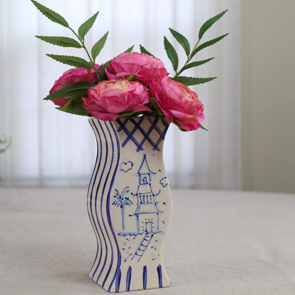 Dark Blue and White Pagoda Vase