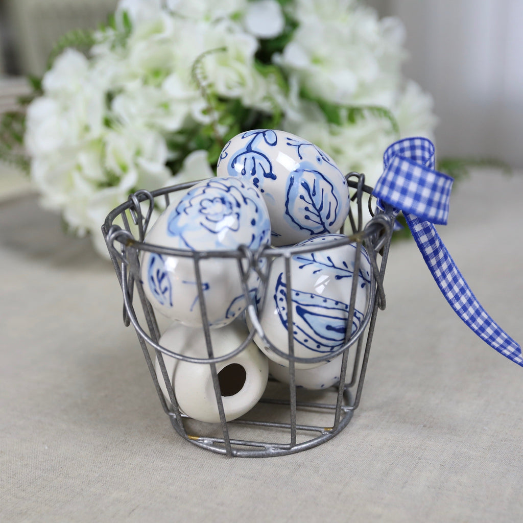 Blue Floral Pattern Ceramic Eggs