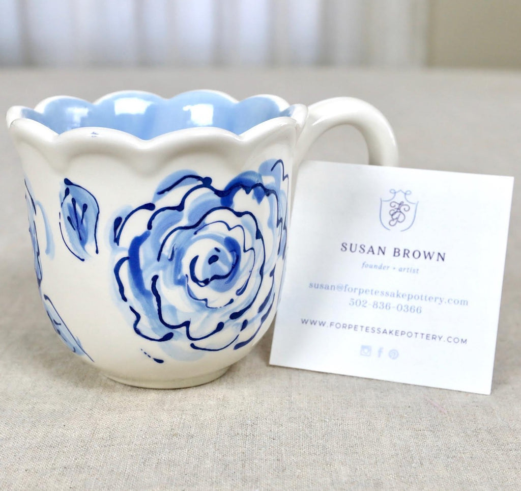 Blue White Flower Mug