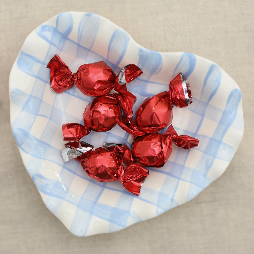 Blue and White Gingham Heart Dish