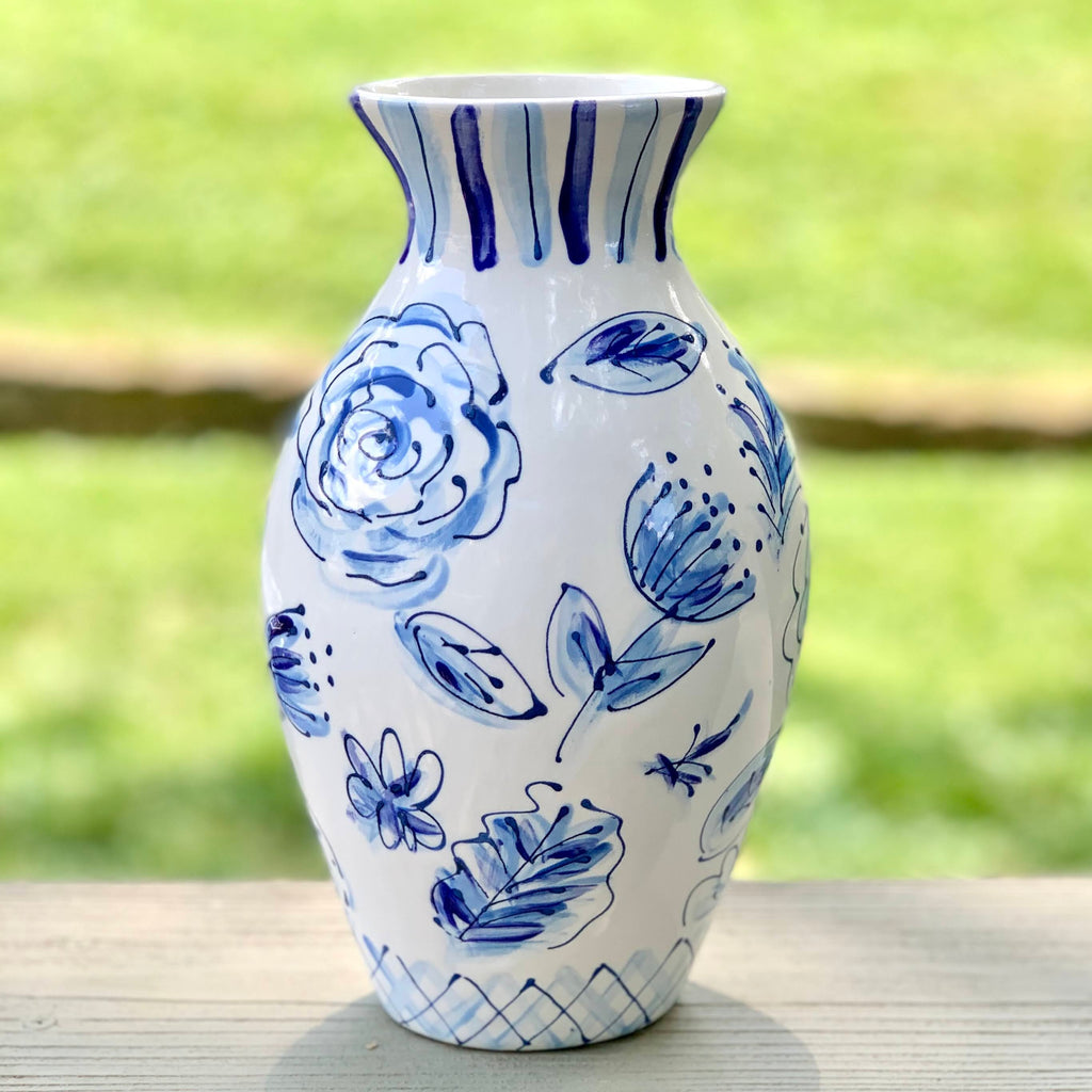 "Blue and White Handpainted Floral Pattern Vase in new larger size of 9.5"" high"