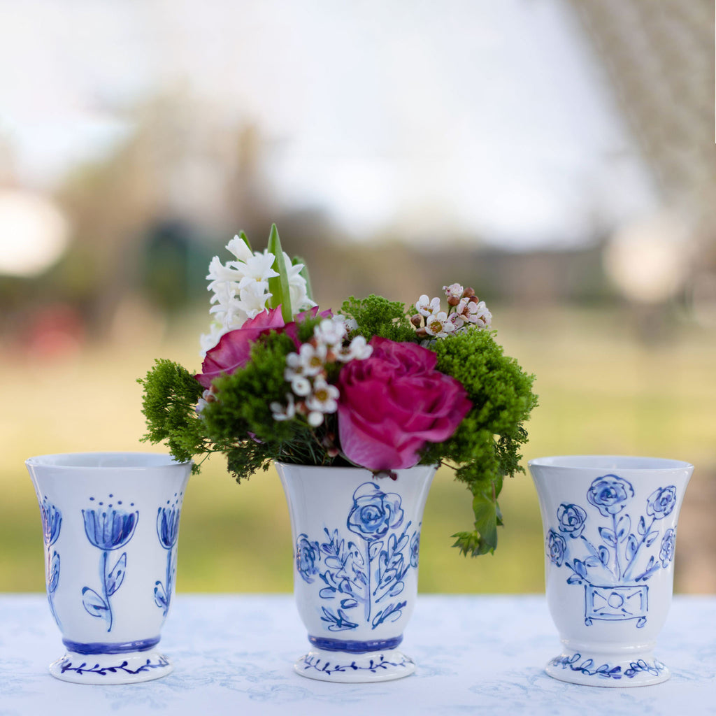Limited Edition Blue Floral Pedestal Vase