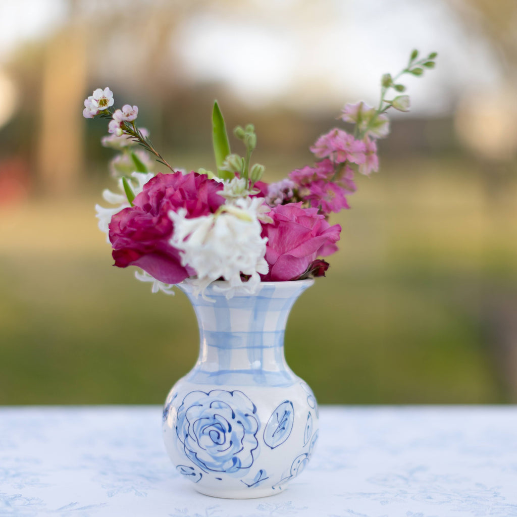 Blue Floral and Gingham Chinoiserie Vase